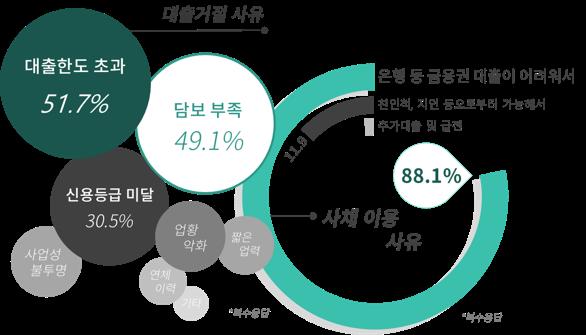 대출거절 사유 은행등 금융권 대출이 어려워서 88.1%, 친인척 지인등으로부터 가능해서 11.9%