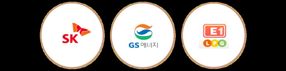 SK, GS에너지, 한화에너지 로고